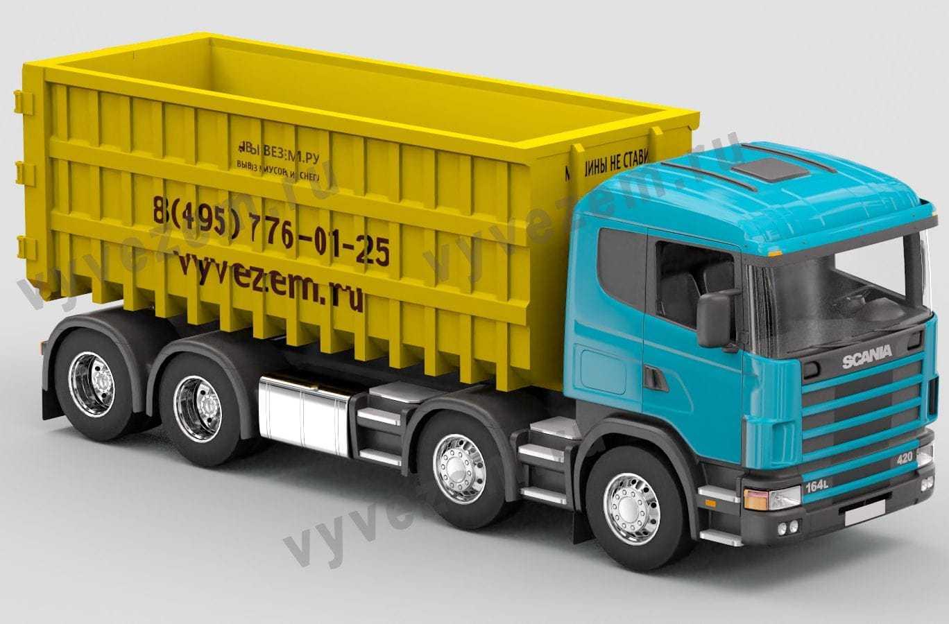 Мусоровоз-мультилифт Скания с контейнером на 36 кубов